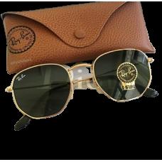 Óculos Ray-ban Hexagonal Preto Com Dourado Rb3548 Original